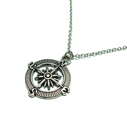 Silver-Plated Compass Necklace for Mens ,