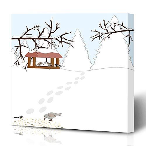 Ahawoso Canvas Prints Wall Art 12x16 Inches House Blue Snow Winter Bird Feeders Yellow Birdhouse Bullfinch Design Season Decor for Living Room Office Bedroom