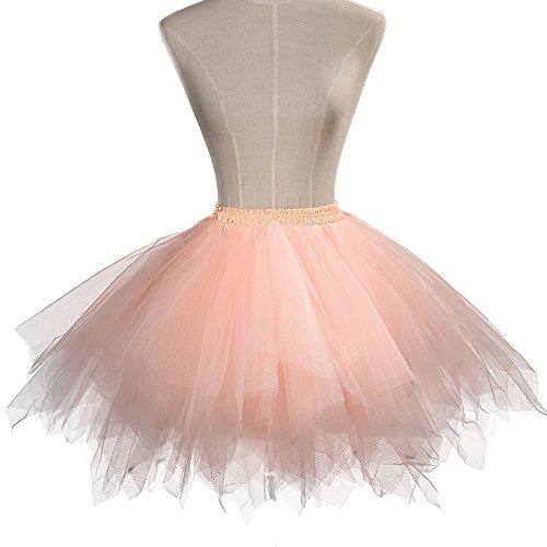 Ballet Clair 50 Bubble Annes Jupe Tutu Party Tulle Orange Couches Petticoat Vintage Classique ONECHANCE Jupe Un6zg