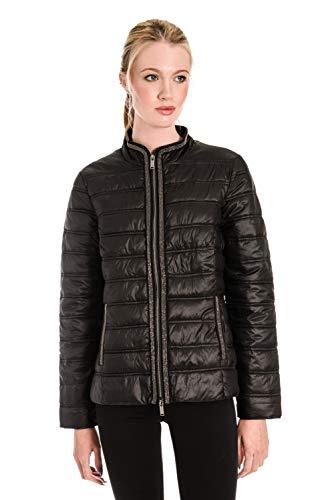 Veste Femme Noir Pelle Manteau Damassée Manches Rino Longues rrvpn