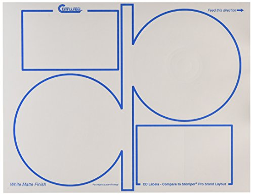Compulabel 312715 White CD Stomper Pro Labels for Laser and Inkjet Printers, 4.64 inch, Permanent Adhesive, 2 Per Sheet, 100 Sheets per Carton ()