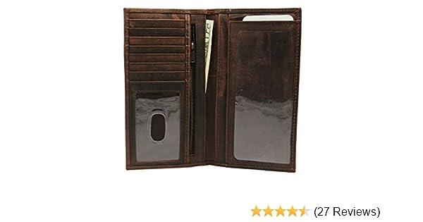 Vintage Look Genuine Leather Short Checkbook Cover Bi-fold RFID Blocking Wallet Gift for Him for Her