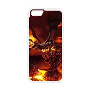 Diy Fire Dragon Phone Case for iphone 6 (4.7 inch) White Shell Phone JFLIFE(TM) [Pattern-1]