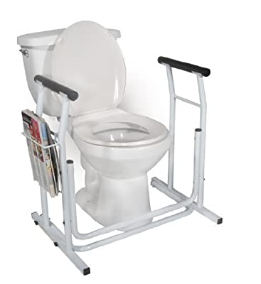 Drive Medical Stand Alone Toilet Safety Rail, White Model: