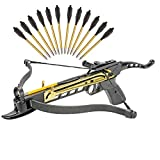 KingsArchery Crossbow Self-Cocking 80 LBS with Adjustable Sights and a Total of 15 Aluminim Arrow Bolt Set