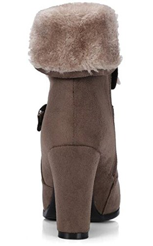 With Khaki Ankle Lined Vintage Heels Faux Boots IDIFU Womens Suede Fold Fleece High Zipper Chunky gqg7UwC