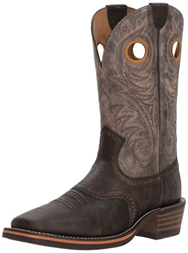 Ariat Men's Heritage Roughstock Wide Square Toe Western Boot, Brooklyn Brown/Ashes, 10 E US