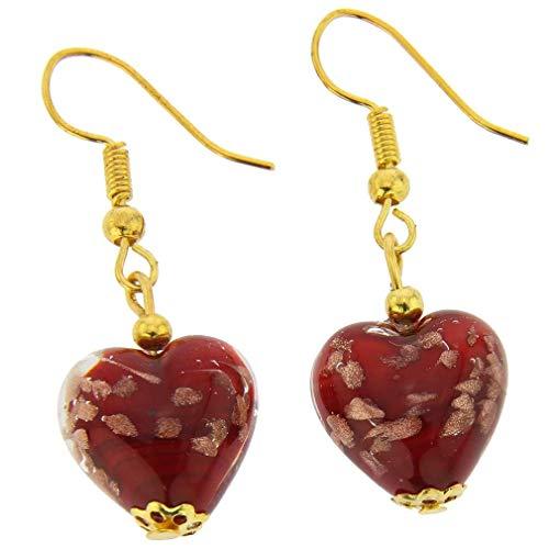 GlassOfVenice Murano Glass Heart Earrings - Red Sparkles