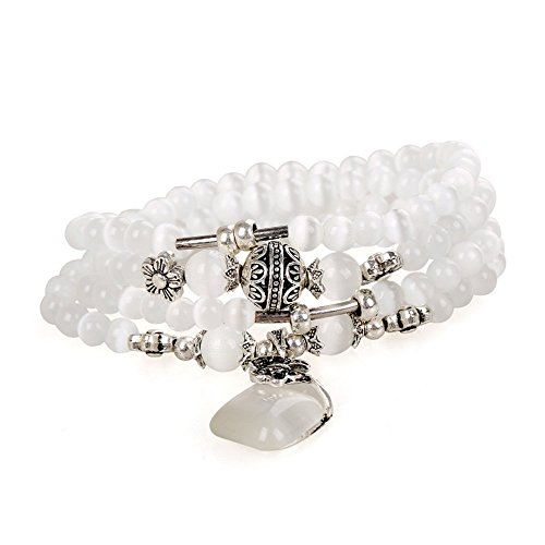 Young & Forever Women's Valentine Diwali Cat Eye White Opal Beads Stackable Bracelet by Young & Forever
