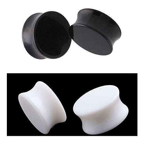 HQLA 2 Pairs White/Black Acrylic Ear Plugs Flesh Tunnels Double Flared Expander Stretcher Piercing Jewelry (0g(8mm))