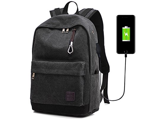 Laptop Backpack Travel Accessories Daypack for Men Women,Large Lightweight School College Book Bag with Computer & Notebook Compartment and USB Charging Port for Business Hiking Traveling (Black)