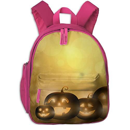 Cute Halloween Pumpkins Double Zipper Waterproof Children Schoolbag With Front Pockets For Kids Boys -