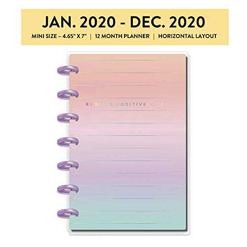 me & my BIG ideas The Happy Planner - Pastel Dreams Theme - January 2020 to December 2020 - Horizontal Layout - Weekly & Monthly Disc-Bound Pages - Scrapbook - Mini Size