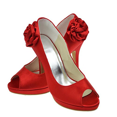Minitoo Girls Womens Flowers Satin Bridal Wedding Sandals Fashion Evening Shoes Red-10cm Heel 9xhhpE