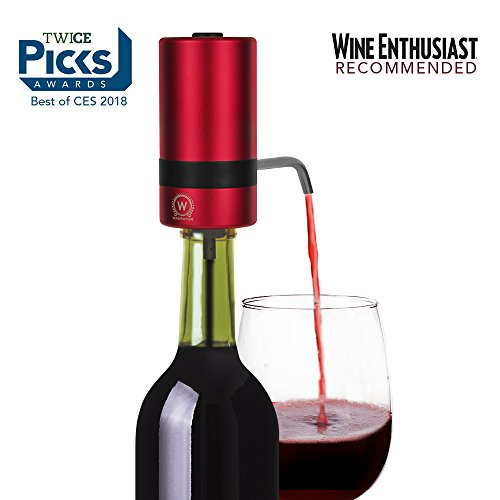 WAERATOR W2 Luxurious Instant 1-Button Electric Wine Aerator w/ Spout - 6X More Oxidation for Wines, Scotch & Whiskey