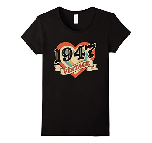 Guys 70's Costume Ideas (Womens Vintage Retro Classic Heart Made In 1947 T-Shirt Medium Black)
