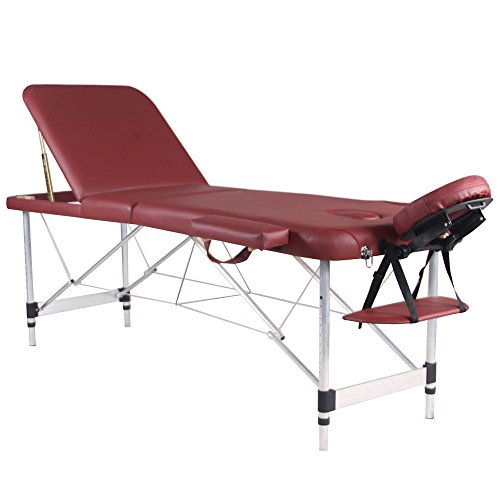 Massage Tables - WELLHOME Portable Massage Table Facial SPA Tattoo Bed Aluminium 3 Section with Free Oxford Carring Bag, Burgundy ()