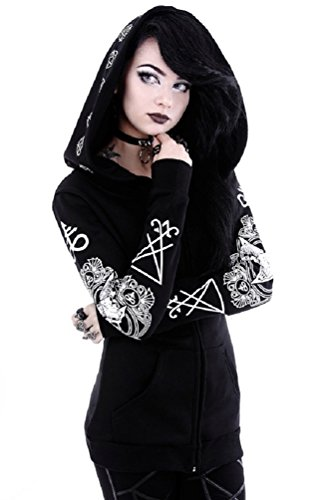 Restyle Occult Ram Skull Pentacle Nugoth Punk Goth Ritual Witchcraft Hoodie Top - Black (2XL)