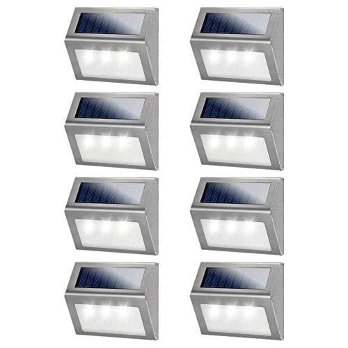 Solar Deck Lights, MEIHONG 8 Pack Stainless Steel Solar Lights Outdoor Waterproof, LED Solar Powered Super Bright Deck Lights, Solar Step Lights, Patio Solar Lights, Solar Outdoor Lights Wall Mount