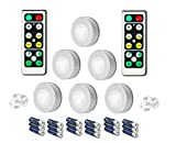LED Puck Lights with Remote Control, Wireless LED 6 Pack Under Cabinet Lighting, LED Puck Lights Battery Operated, Under Counter Lighting, Stick On lights, Closet Puck Lights, Shelf Lighting