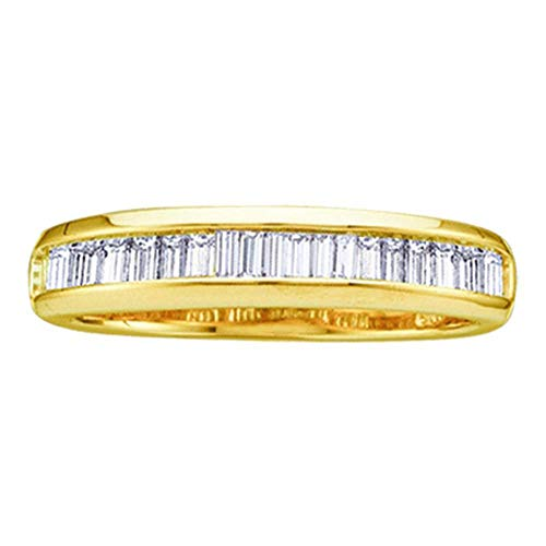 10kt Yellow Gold Womens Baguette Diamond Wedding Anniversary Band 1/6 Cttw