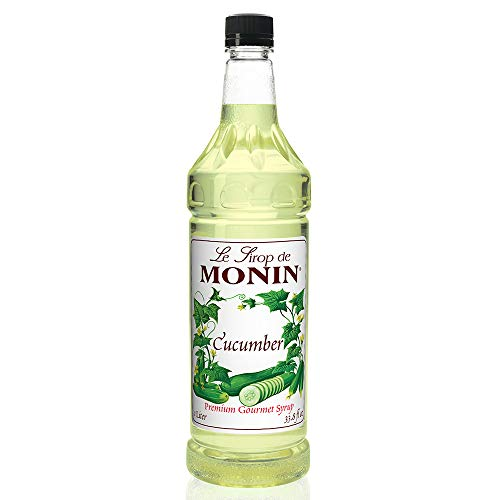 Monin - Cucumber Syrup, Refreshing Sweetness, Natural Flavors, Great for Mocktails, Cocktails, Lemonades, Teas, and Sodas, Vegan, Non-GMO, Gluten-Free (1 Liter)