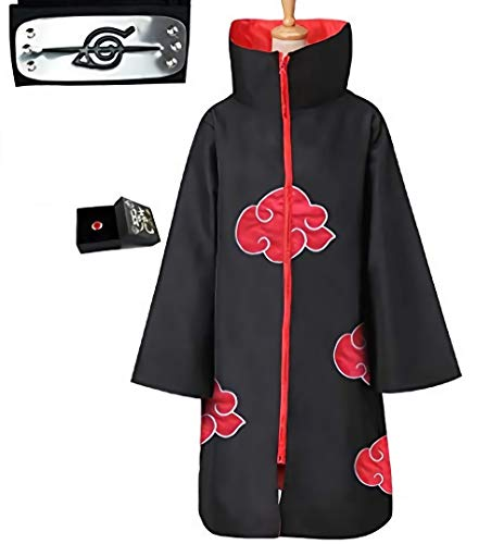 Capa de Akatsuki Itachi,Anime Naruto Uchiha Itachi Shuriken Frente Diadema Accesorios Trajes Cosplay Accesorios…