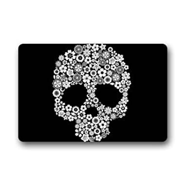 DearHouse Skull Door Mats Cover Non-slip Machine Washable Outdoor Indoor Bathroom Kitchen Decor Rug Mat 23.6 x15.7