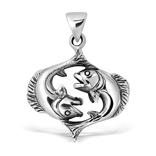 - WithLoveSilver 925 Sterling Silver Zodiac Horoscope Pisces Sign or The Fishes (20 Feb - 20 Mar) Pendant