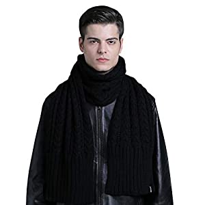 CACUSS Men's Winter Long Thick Cable Knitted Scarf Soft Warm Scarves for Cold Weather Black …