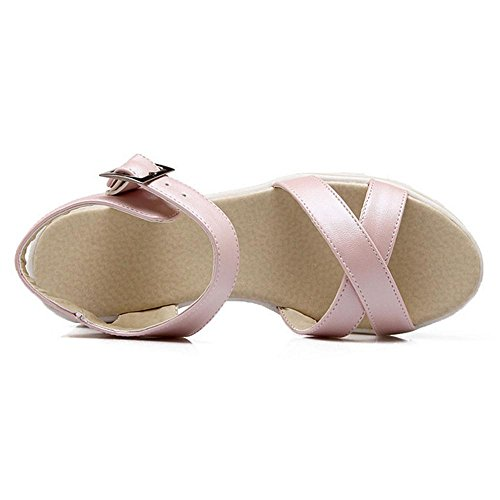 TAOFFEN Mujer Zapatos Comodo Talond Medio Plataforma Sandalias De Hebilla Rosado