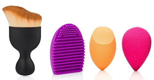 MakeUp Sponge Brush Set. 1 S-shaped Powder Brush,1 MakeUp Brush Washing Cleaning Scrubber Board, 2 Latex-Free Miracle Orange and Pink Use Wet or Dry Sponges (4, - Colombia Mall