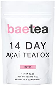 Baetea 14 Day Acai Teatox: Gentle Detox Tea. Reduce Bloating and Constipation. Appetite Suppressant. 14 Pyramid Tea Bags. Natural Weight Loss Tea. Ultimate Body Cleanse.