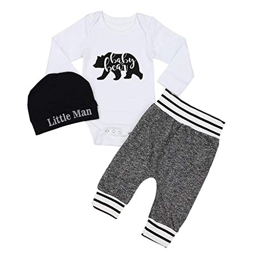 youeneom Newborn Baby Boy Girl Clothes Letter Print Romper+Elastic Rope Pants+Hat 3PCS Outfits Set (80, White)