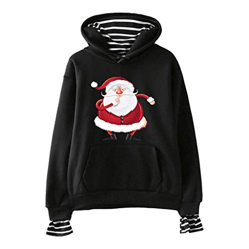 Halloween Pub Crawls (Ultramall Women's Halloween Print Striped Stitching Casual Fake Two Pieces Hooded)