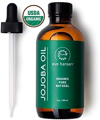 Eve Hansen Aceite USDA certificado orgánico Jojoba aceite Facial, crecimiento de pelo y tratamiento de cuero cabelludo seco con vitamina E crema hidratante Natural para cabello, piel y uñas de 4 onza: