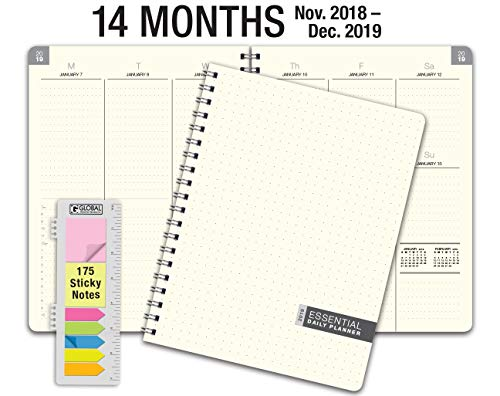 Essential 8.5x11 Monthly & Weekly 2019 Planner - 14 Months (November 2018 Through December 2019) - Professional, Simple, Easy-to-Use Design. FROSTED VINYL COVERS for extra protection