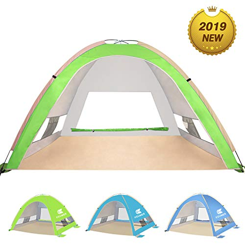 - KEUMER Venustas Large Pop Up Beach Tent Beach Umbrella Automatic Sun Shelter Cabana Easy Set Up Light Weight Camping Fishing Tents 4 Person Anti-UV Portable Sunshade for Family Adults