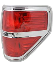 Tail Light Lens and Housing Compatible with 2009-2014 Ford F-150 Styleside Chrome trim Passenger Side