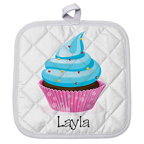 Personalized Custom Text Blue Cupcake Polyester Pot Holder Trivets