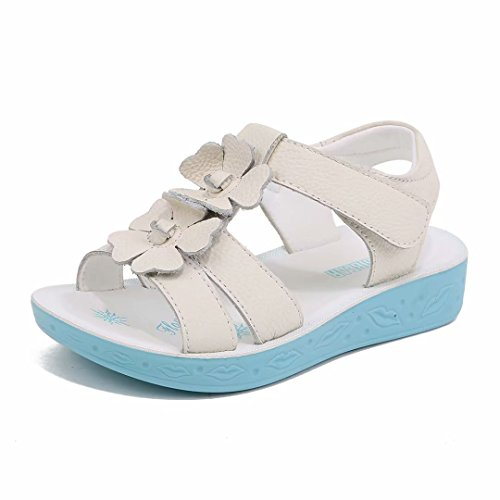 BODATU Girl Flat Flower Leather Sandals(Toddler/Little Kid/Big Kid)(28, White)
