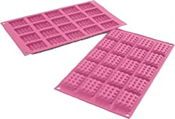 Silkomart Wonder Cakes Pink Silicone Mini Waffles Chocolate Mold, 20 Cavity, Made in Italy