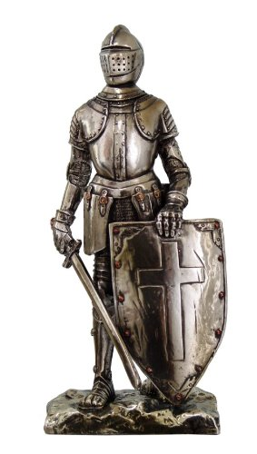 Resin Cold Cast (Crusader Knight Statue Silver Finishing Cold Cast Resin Statue 7