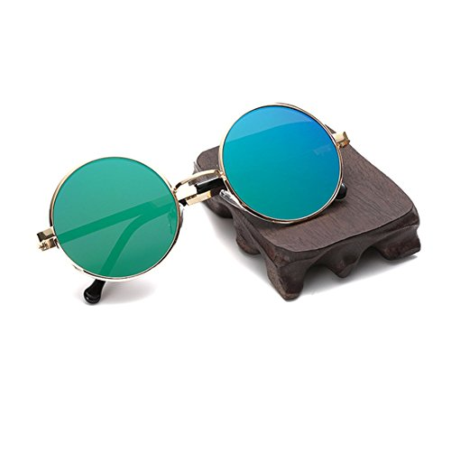 Retro Round Sunglasses for Mens & Womens with Green Colors Mirror Metal Frame (Baby Ray Bans Australia)