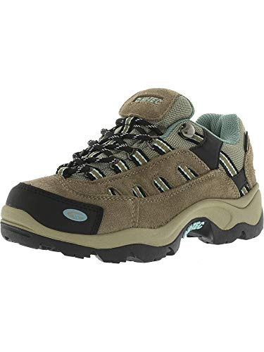 Hi-Tec Womens Taupe/Dusty Mint Leather Bandera Low WP Hiking Shoes 5M
