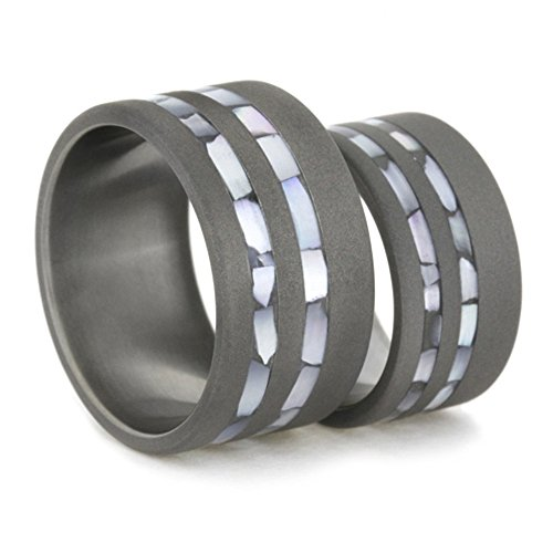 Mother of Pearl Inlay, Sandblasted Comfort-Fit Titanium His and Hers Wedding Band Set, M10-F4 by The Men's Jewelry Store (Unisex Jewelry)