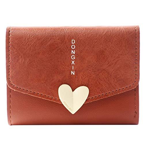 Womens Mini Wallet, Clearance Sale Litetao Girls Heart Cute Coin Money Bags PU Tri-fold Wallets ID Card Case Gift (Coffee) ()