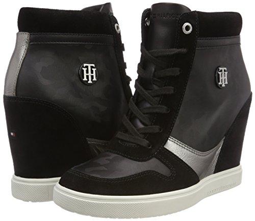 Mujer Metallic Camo Dress 990 black Negro Tommy Sneaker Zapatillas Hilfiger Para qE00w6Sx