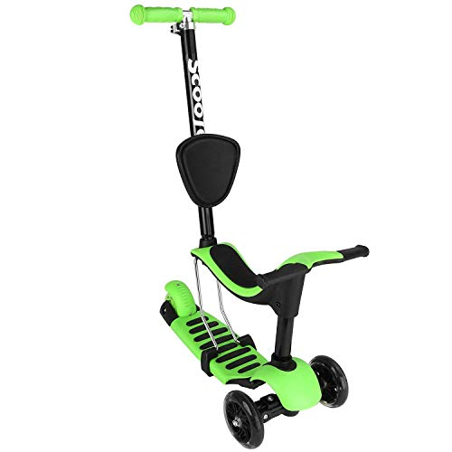 TOYEN GordVE G118 5-in-1 Toddler Scooter Deluxe 3 Wheel  Kick Scooter with Removable Seat, LED Flashing Wheels and Adjustable Handlebar for Kids