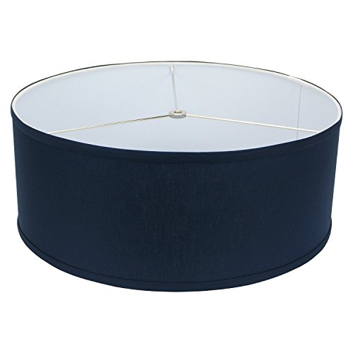 FenchelShades.com 18'' Top Diameter x 18'' Bottom Diameter 7'' Height Cylinder Drum Lampshade USA Made (Navy Blue) by FenchelShades.com